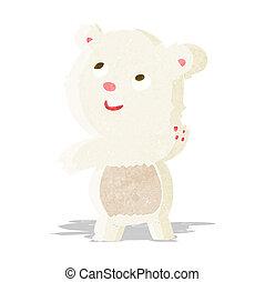 cartoon cute waving polar bear teddy
