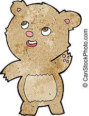 cartoon cute waving teddy bear