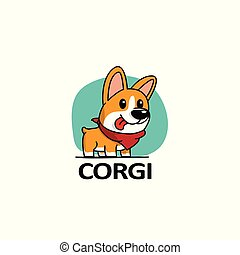 Cartoon cute welsh corgi dog with red scarf, logo design, vector illustration