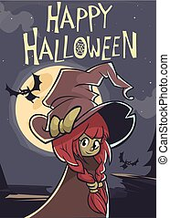 Cartoon cute witch. Vector illustration