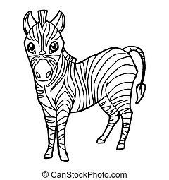 Cartoon Cute Zebra Coloring Page Vector Illustration