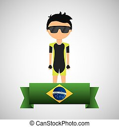 cartoon cycling player brazilian label