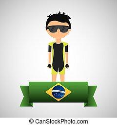 cartoon cycling player brazilian label