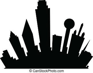 Cartoon Dallas - Cartoon skyline silhouette of the city of ...