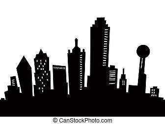 Cartoon Dallas Silhouette - Cartoon skyline silhouette of...