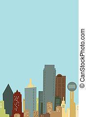 Cartoon Dallas Skyline