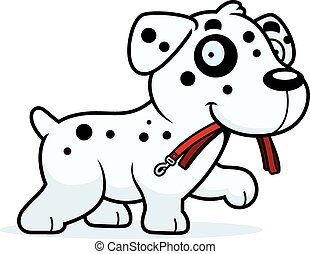 A cartoon illustration of a Dalmatian walking with a leash in his mouth.