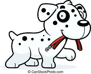 Cartoon Dalmatian Leash - A cartoon illustration of a...