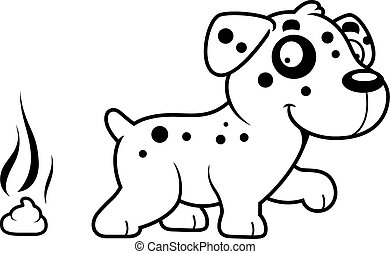Cartoon Dalmatian Poop - A cartoon illustration of a...