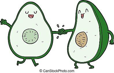 cartoon dancing avocados