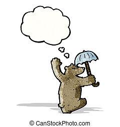 cartoon dancing bear with umbrella