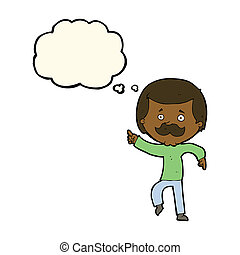 cartoon dancing dad with thought bubble