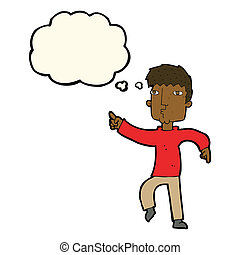 cartoon dancing man with thought bubble