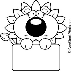 Cartoon Dandelion Lion Sign
