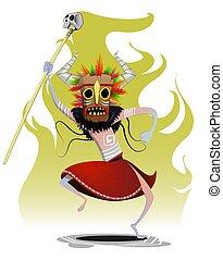 Cartoon dansing shaman. Magic, sorcery, concept vector...