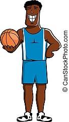 Cartoon dark basketball player with ball