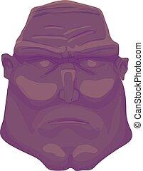 Cartoon dark Brutal Man Face. Vector illustration
