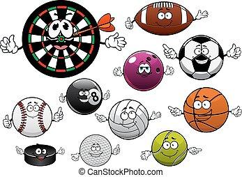 Cartoon dartboard, puck and sport balls