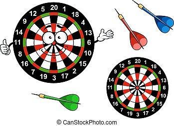 Cartoon dartboard target character with colorful darts