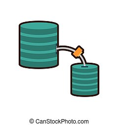 cartoon data center information digital connection