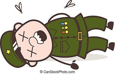 Cartoon Dead Sergeant Body Vector Illustration