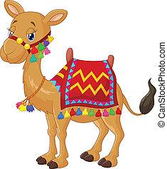 Cartoon decorated camel - vector illustration of Cartoon...
