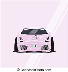 Cartoon decorated car. A pink car in Japanese style called...