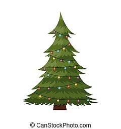 Cartoon decorated Christmas tree pine.