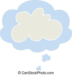 cartoon decorative cloud symbol and thought bubble in retro style
