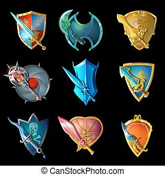 Cartoon Decorative Medieval Weapons Set