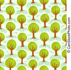 Cartoon decorative style trees seamless pattern