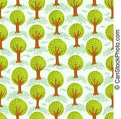 Cartoon decorative style trees seamless pattern
