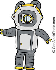cartoon deep sea diver  - cartoon deep sea diver