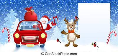 Cartoon deer and Santa Claus in retro car wit gift box anr big Christmas bag rides near billboard for layout congratulation or letter with list wish to Santa Claus