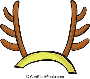 Cartoon deer antlers icon isolated on white background