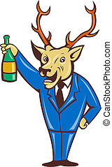 illustration of a cartoon deer holding champagne wine bottle in business suit on isolated background