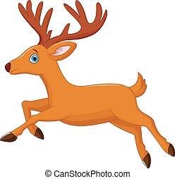 Cartoon deer running - Vector illustration of Cartoon deer...