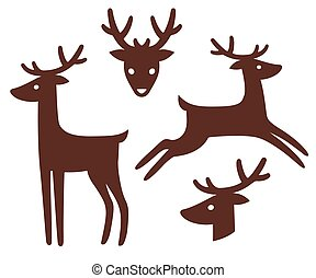 Cartoon deer silhouette set. Standing and jumping, head with...
