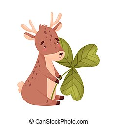 Cartoon deer with clover. Vector illustration on white background.