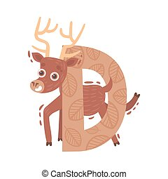 Cartoon deer with the letter D. Vector illustration on a white background.