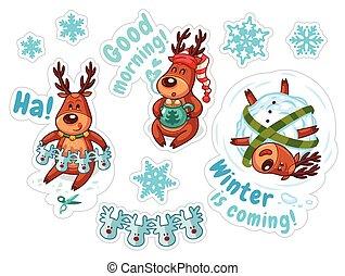 Cartoon deers, Christmas stickers