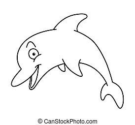 cartoon, delfin, linje kunst