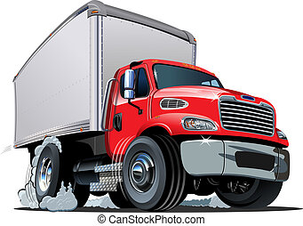 Cartoon delivery / cargo truck isolated on white background. Available EPS-10 vector format separated by groups and layers for easy edit
