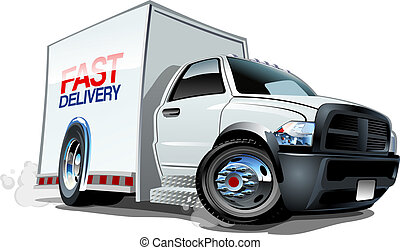 Cartoon delivery cargo truck isolated on white background. ...