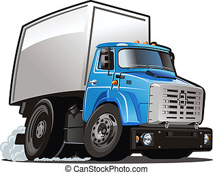 Cartoon delivery / cargo truck isolated on white background. Available EPS-8 vector format separated by groups and layers for easy edit
