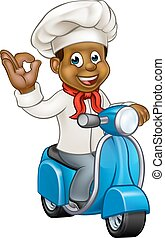 Cartoon Delivery Moped Chef - Cartoon black chef or baker...