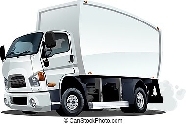 Cartoon delivery or cargo truck isolated on white background
