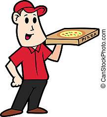 cartoon delivery pizza