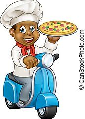 Cartoon Delivery Scooter Pizza Chef