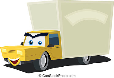 Cartoon Delivery Truck Character